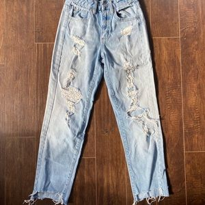 Cool Garage ripped, light blue mom Jeans size 00